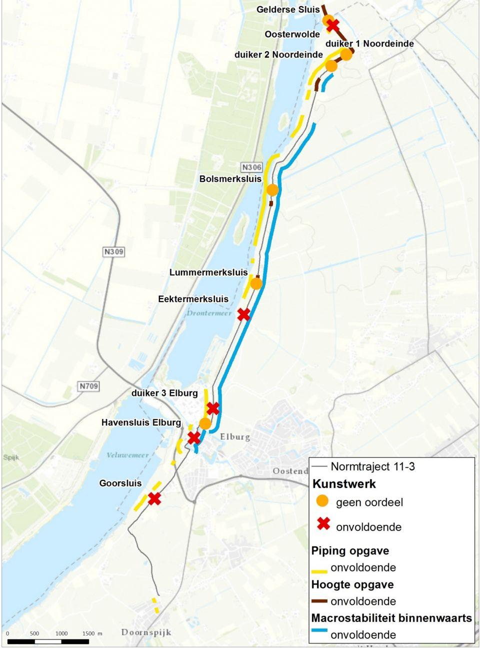 Afbeelding 1 Veiligheidsopgave Noordelijke Randmeerdijk aan de start van de verkenningsfase. Oude veiligheidsopgave (december 2017).